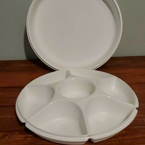 Vintage Tupperware Divided Serving Tray with Lid